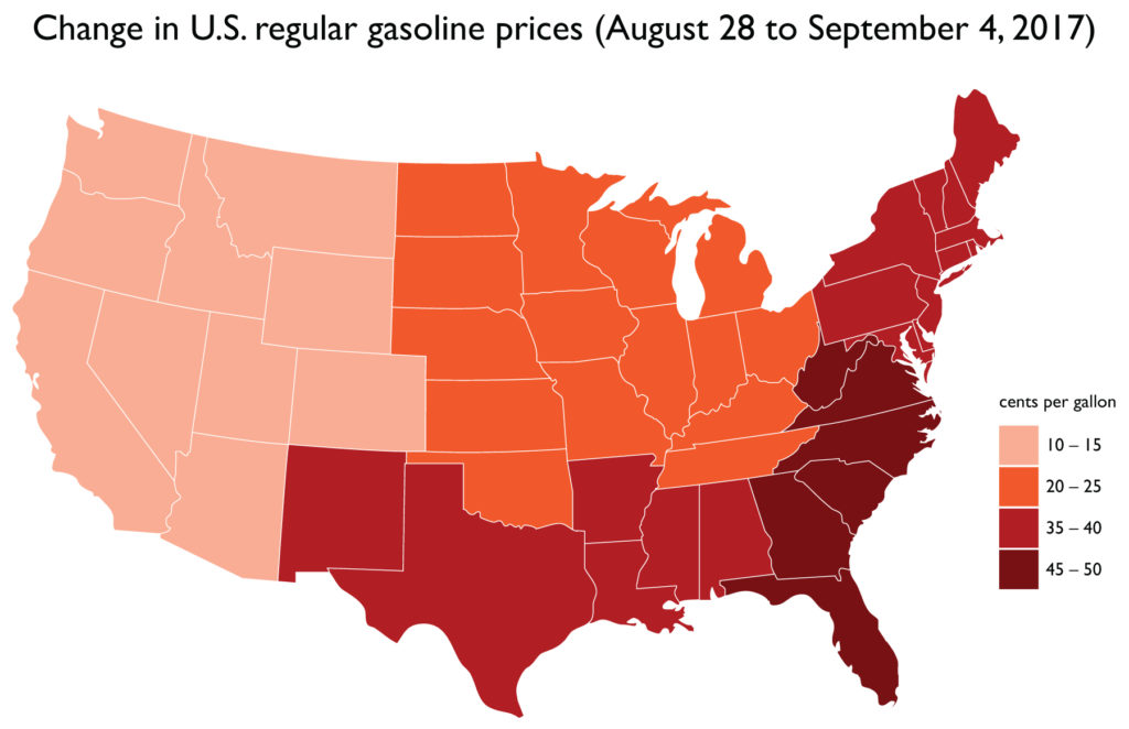 Change in U.S. gas prices